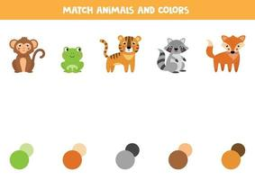 Match animals and their colors. Educational worksheet for kids. vector