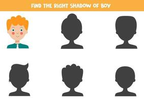 Find the correct shadow of the cute cartoon young man. vector