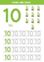 Tracing the number 10. Cartoon sea weeds.
