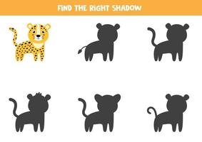 Find the right shadow of cute leopard. Logical worksheet. vector