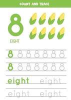 práctica de escritura a mano para niños. numero ocho. mazorcas de maíz de dibujos animados. vector
