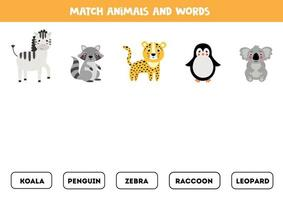 emparejar animal y palabra. juego de gramática inglesa para niños. vector