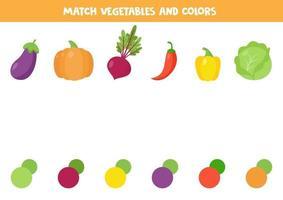 coincidir con la verdura y su color. lindo cartón de remolacha, pimiento, berenjena, calabaza, repollo. vector