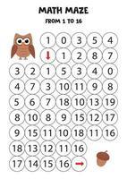 Math maze with cute cartoon owl and acorn. vector