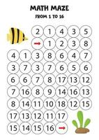 Math maze for children. Fish swims to seaweed. vector