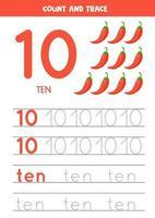 rastreando la palabra diez y el número 10. dibujos animados de chiles ilustraciones vectoriales. vector