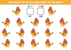 Left or right with cute cartoon hen. Educational game. vector