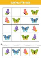 Sudoku for kids. Cute flying colorful butterflies. vector