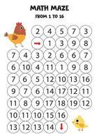 juego de matemáticas para niños. Conseguir gallina al pollo. vector