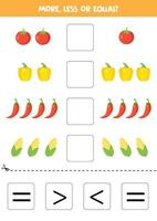 Compare the number of vegetables. More, less, or equal. vector