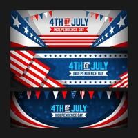 4th Of July Banner Set With Realistic American Flag
