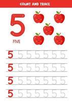 hoja de trabajo para aprender números con lindos elefantes. número 5. vector
