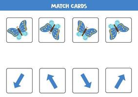 Match cards with spatial orientation and blue butterfly. vector