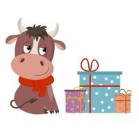 lindo toro con regalos de cumpleaños. Aislado en un fondo blanco. ilustración vectorial en estilo de dibujos animados. vector