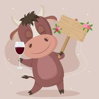 Cute bull in cartoon style with a sign for placing text, with a glass of wine. Vector illustration isolated on a white background.