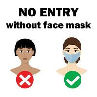 Girls, icon, no entry without face mask. Vector illustrations.