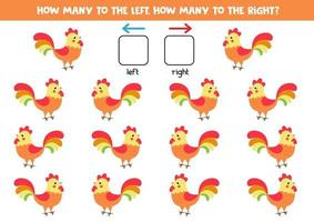 Left or right with cute cartoon farm rooster. vector