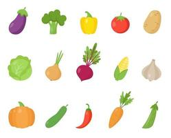 Set of colorful cartoon vegetables. Healthy food collection. vector