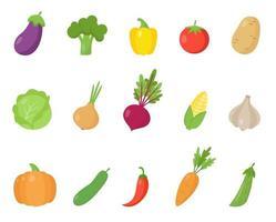 conjunto de verduras de dibujos animados coloridos. recogida de alimentos saludables. vector