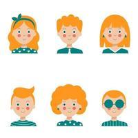 colección de retratos de personas. niñas y niños con diferentes cortes de pelo. vector