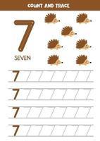 Worksheet for kids. Seven cute cartoon hedgehogs. Tracing number 7. vector