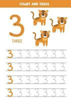 Worksheet for learning numbers with cute elephants. Number three. vector