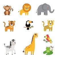 colección infantil de lindos dibujos animados de animales africanos. vector