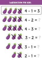 Subtraction game with cartoon eggplants. Educational worksheet. vector