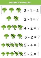 Subtraction for preschool and school children with cute cartoon broccoli. vector