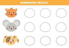 Trace the mouse, cat and dog. Writing practice for children. vector