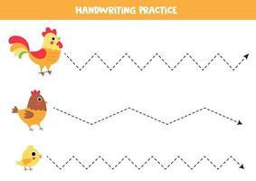 trazar líneas para niños. pájaros de granja de dibujos animados lindo. vector