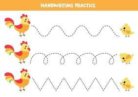 trazar líneas para niños. con gallo y pollo de dibujos animados. vector