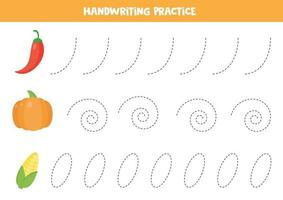 Tracing lines for kids. Cute cartoon vegetables. vector