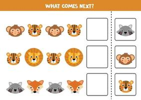 Guess which animal comes next. Cute set of animals faces. vector