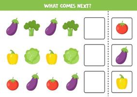 What comes next with cartoon vegetables. Eggplant, broccoli, tomato, pepper, cabbage vector