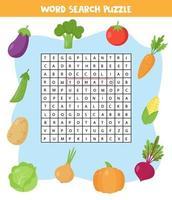 rompecabezas de búsqueda de palabras para niños. conjunto de verduras de colores. vector