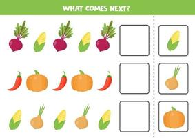 What comes next with cartoon vegetables. Beetroot, corn, pumpkin, pepper, onion. vector