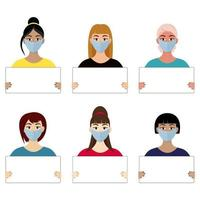 Beautiful girls in masks hold a white poster. Vector illustrations.