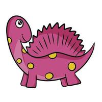 Cute pink dinosaur in cartoon style. Vector illustration isolated on a white background.