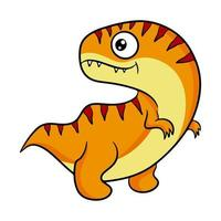 Cute orange dinosaur in cartoon style. Vector illustration isolated on a white background.