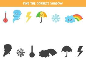 Find correct shadow of weather events. Game for children. vector