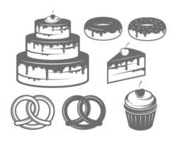 Bakery set with Cake, Desserts, Doughnut, Bagel, Cupcake Vector Illustrations