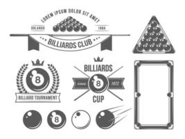 Billiards Accessories And Emblems vector