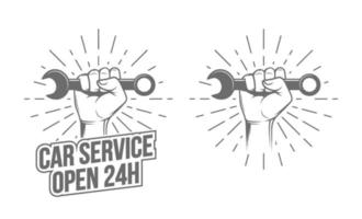 Hand With Wrench vector