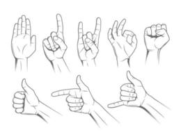 Hand Gestures Illustration Set vector