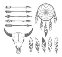 indio, tribal, objetos de cazador vector