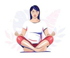 mujer meditando, yoga, ilustración vector