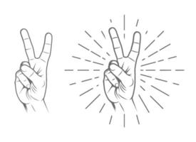 Peace, Victory Hand Sign vector