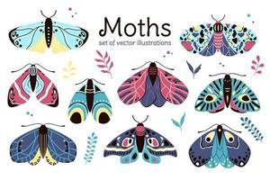 ilustraciones de polilla, estilo infantil decorativo plano. vector