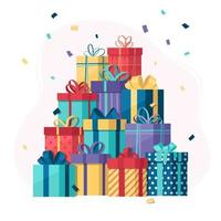 Pile Of Gift Boxes With Confetti vector